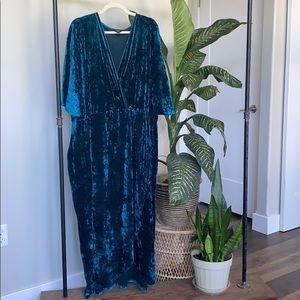 Joanna Hope Teal Velvet Dress